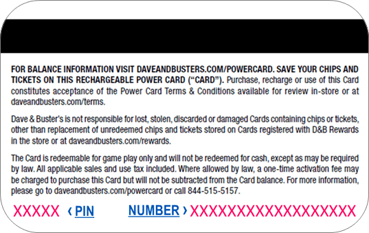 Back of the Power Card